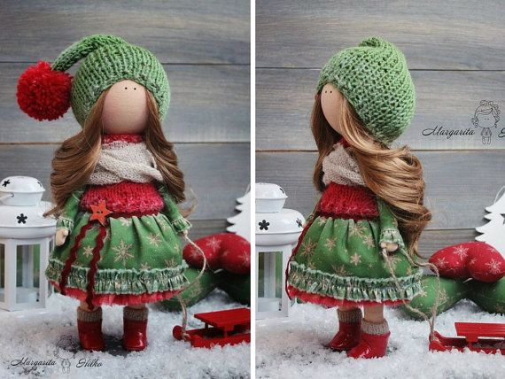 Handmade soft doll, red, green colors, doll for girl, Baby doll, Collectable doll, Fashion doll, Art doll by Master Margarita Hilko