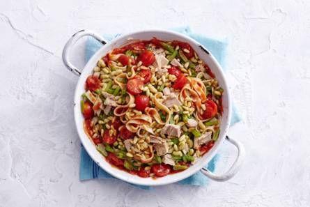 Bloemkoolpasta met snijbonen, tomaat en tonijn - Recept - Allerhande