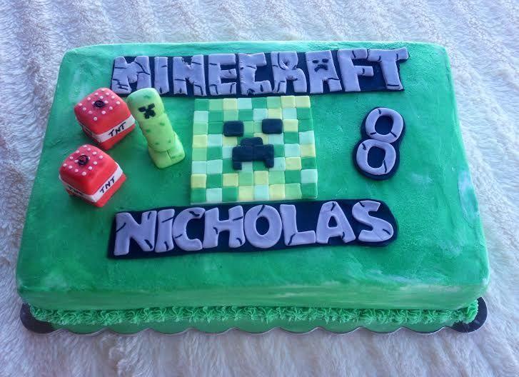 Minecraft Sheet Cake With Fondant Accents Cakes I Ve