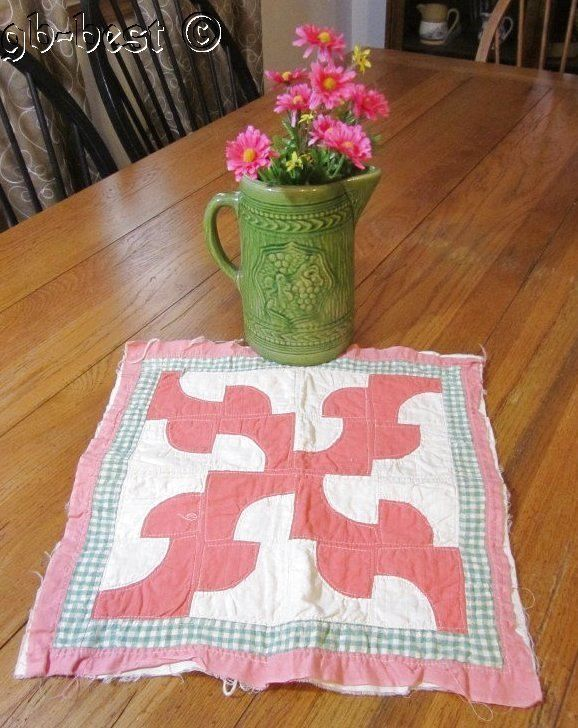 """Classic 1920s Country Pink Drunkards Patch DOLL Table QUILT 15 x 15"""""""