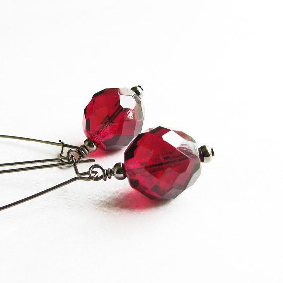 Cranberry Red Earrings Dark Cranberry Red Dangle by OnePrettyDaisy