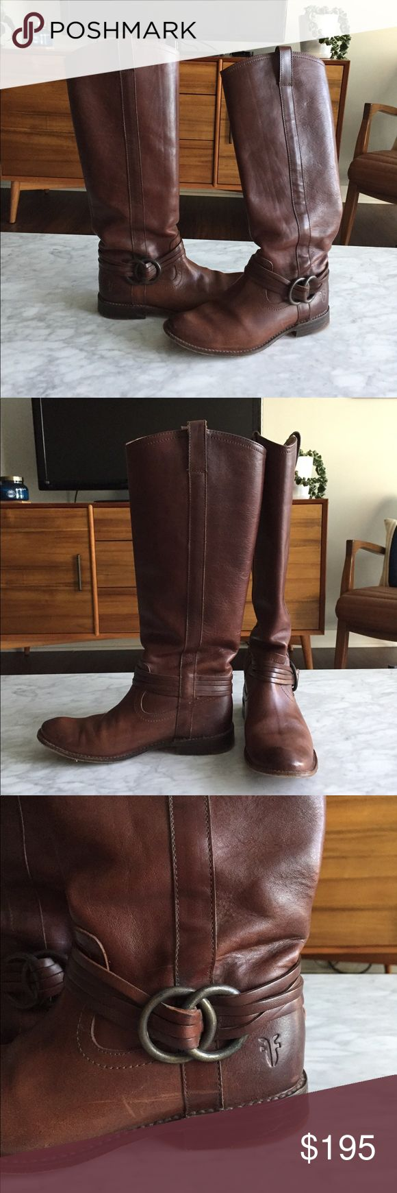 Frye Shirley Multi Strap Harness Boots Frye Shirley Multi Strap Harness Boots in brown leather. These boots are pull on and have no zipper, and have antiqued metal rings at the ankle. They have a low stacked heel. Some light scratches but overall in great shape. Does not include box. No trades, but willing to accept offers. Frye Shoes