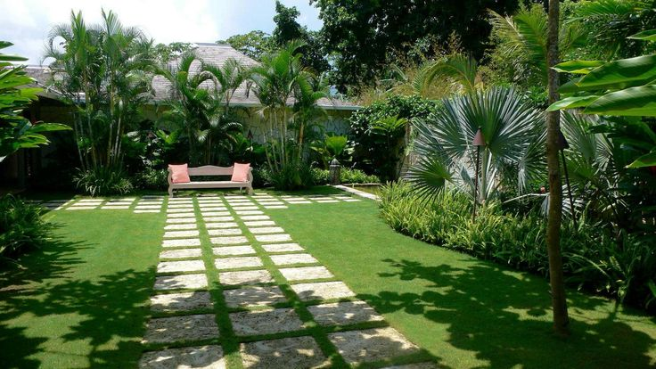 beautiful tropical garden with concrete pathways and green grass
