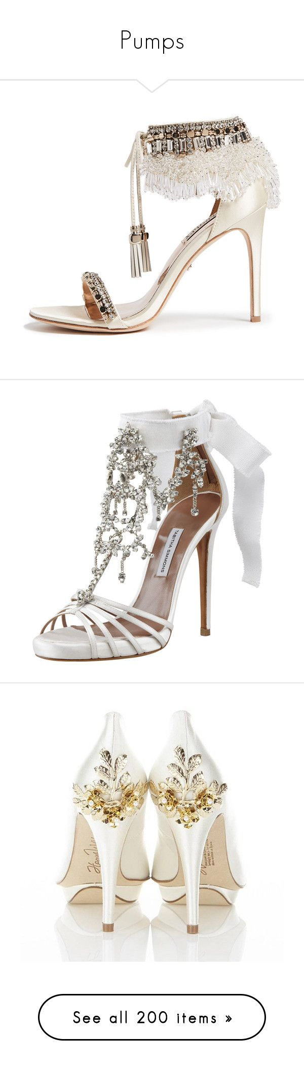"""Pumps"" by najwa-bna ❤ liked on Polyvore featuring shoes, sandals, ivory, satin shoes, glitter sandals, fringe tassel sandals, badgley mischka sandals, beaded sandals, heels and sapatos"
