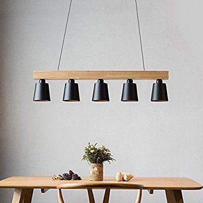 Spectacular ZMH Pendelleuchte esstisch Pendellampe Holz und Metall H ngeleuchte H henverstellbar H ngelampe retro Deckenleuchte E Leuchtmittel f r Esszimmer