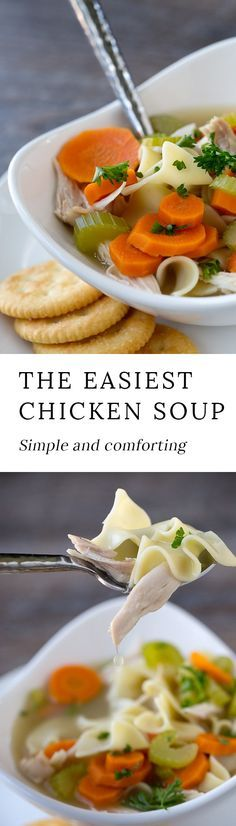This simple and comforting Homemade Chicken Noodle Soup is loaded with healthy vegetables, soft noodles, and tender shredded chicken. My family loves the classic flavor and I love that it can be made quickly. #chickennoodlesoup #recipes #soup via @https://www.pinterest.com/fireflymudpie/