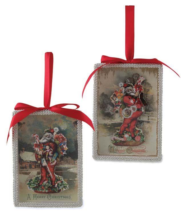 Scrapbook Santa Shadow Box Ornaments | Bethany Lowe - The Holiday Barn