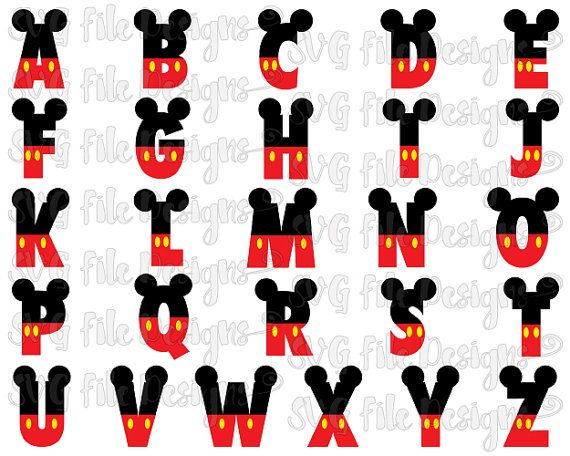 Mickey Mouse Ears and Pants Layered Disney Alphabet Font Cutting File Set in Svg, Eps, Dxf, Png, and Jpeg for Cricut and Silhouette