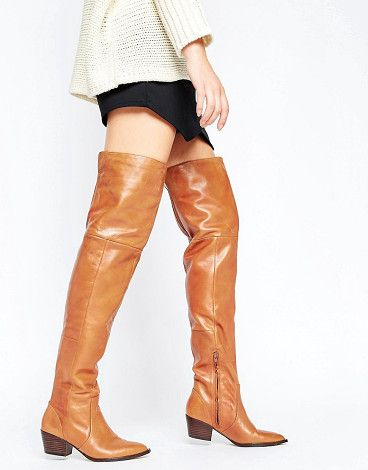 Deedee western leather over the knee boots by ALDO. Boots by ALDO, Stretch leather upper, Side zip fastening, Elasticated inserts, Pointed toe, Mid-height block heel, Tr...