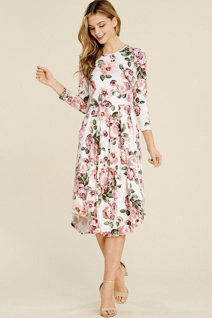 5c6aff898d96b Jenna Floral Midi Dress : Blush – GOZON Boutique | I'm being called ...