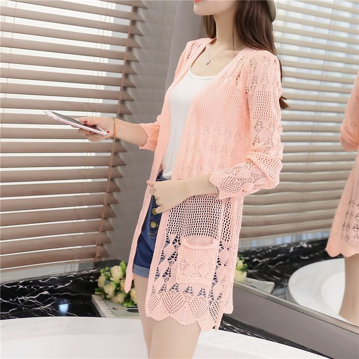 women fashion summer spring women long-sleeve thin sweater knitted hollow cardigan outerwear medium-long air conditioning shirt
