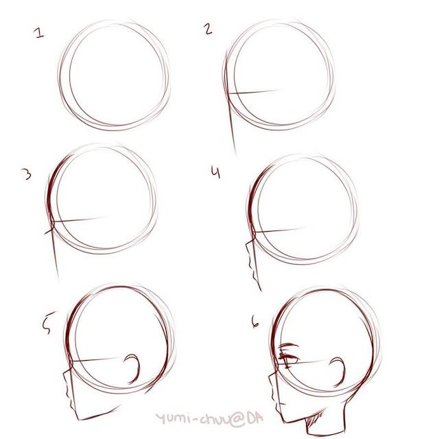 Manga Draw Source Drawing Comic And Manga Tutorials Head Construction Side View Drawing Tutorial Face Side Face Drawing Drawing Tips