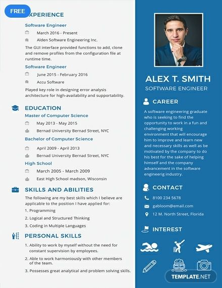 Download This Free Resume Template For Entry Level Or Professional Software Engineer Applications Easy To Edit With High Quality And Printable Content