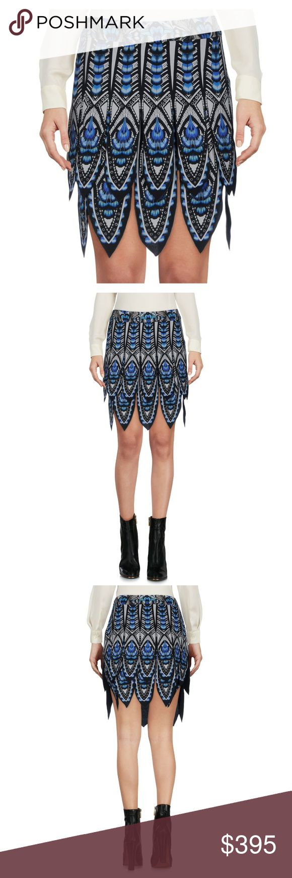 Feather Print Silk Car Wash Fringe Miniskirt 4 New with tag in perfect conditon, Authentic Roberto cavalli runway blue feather print mini skirt.  Sz it40 or us4 15.6 inches long 100% Silk, Dry Clean Only. Details: crepe, multicolor pattern, no pockets, rear closure, hook-and-bar, zip, lined interior, no appliques, skirt *Price Firm* No Offers on this one. Roberto Cavalli Skirts Mini
