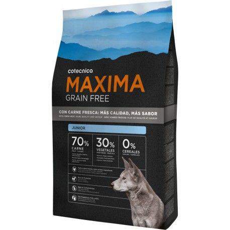 A ração Maxima Grain Free Junior é indicada para cachorros desde que deixam o leite até ao final do seu crescimento. Com um elevadoteor energético e rico em proteínas, que favorecem o desenvolvimento dos musculos. Combinado com a proporção equilibrada de cálcio e fósforo que asseguram o ótimo desenvolvimento dos ossos e dentes.