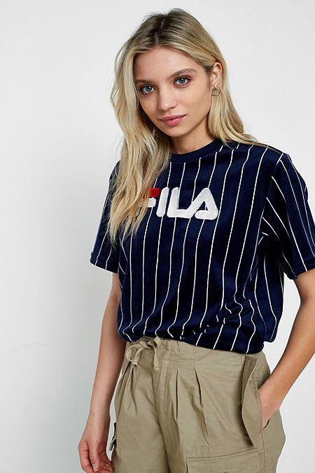 90db7f1c173 Fila – T-Shirt aus Velours mit Nadelstreifen und Logo