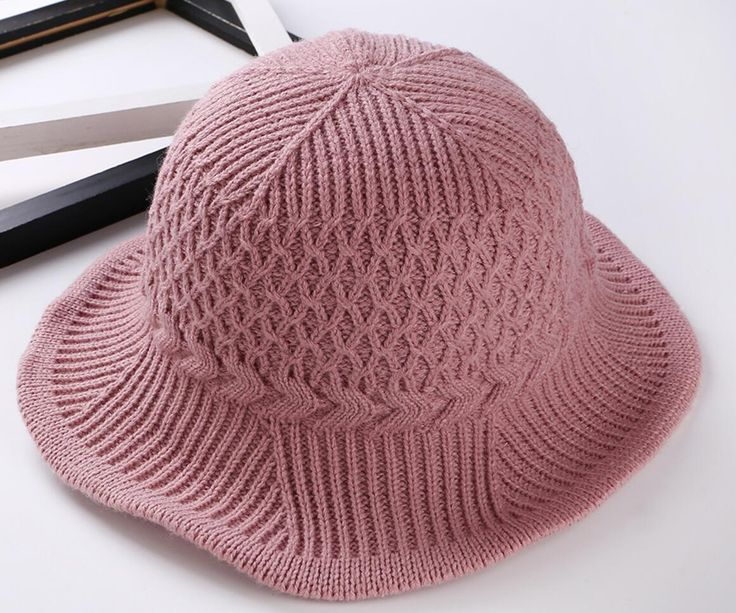 6pcs Lady Foldable Acrylic Knitted Bucket Hats for Spring Fall Women  Crochet Knitting Cloches Caps Pocketable 1820205f0060