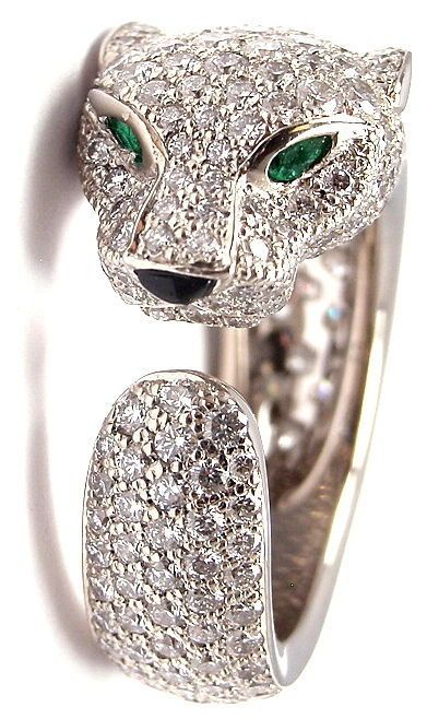 """Cartier Panther Onyx Emerald Diamond White Gold Ring $28,000""-- Yeah, twenty-eight grand, no big deal... ;)"