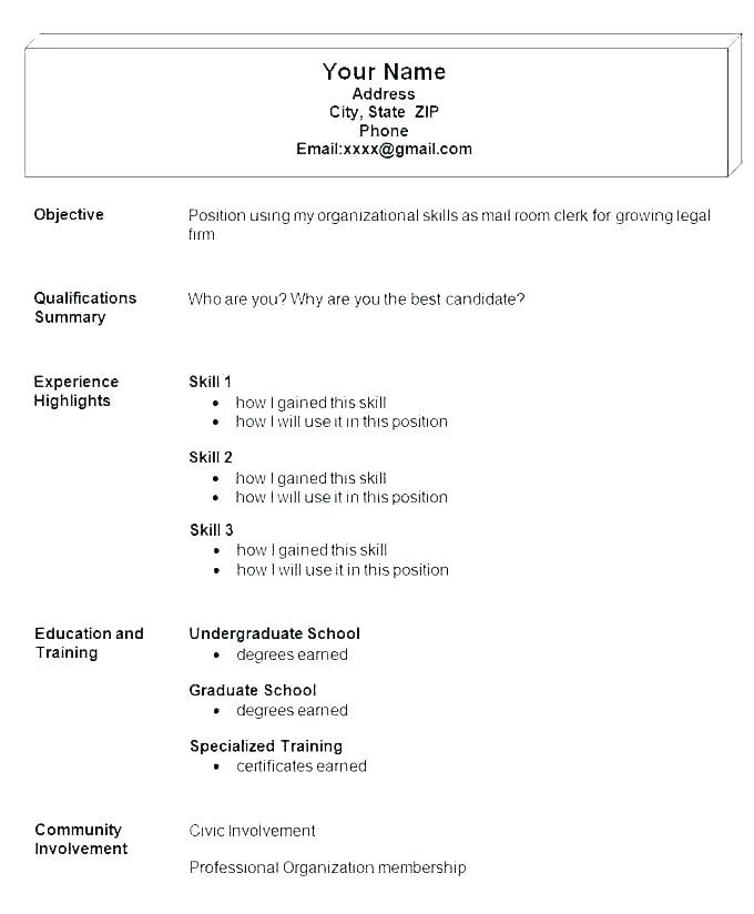 Basic Job Resume Examples Easy Resume Samples Simple Format