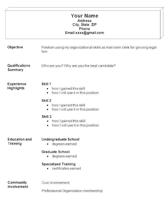 Job Template Job Simple Resume Examples