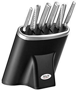 Global 7 Piece Knife Block Set Black/SS Block: Amazon.co.uk: Kitchen & Home