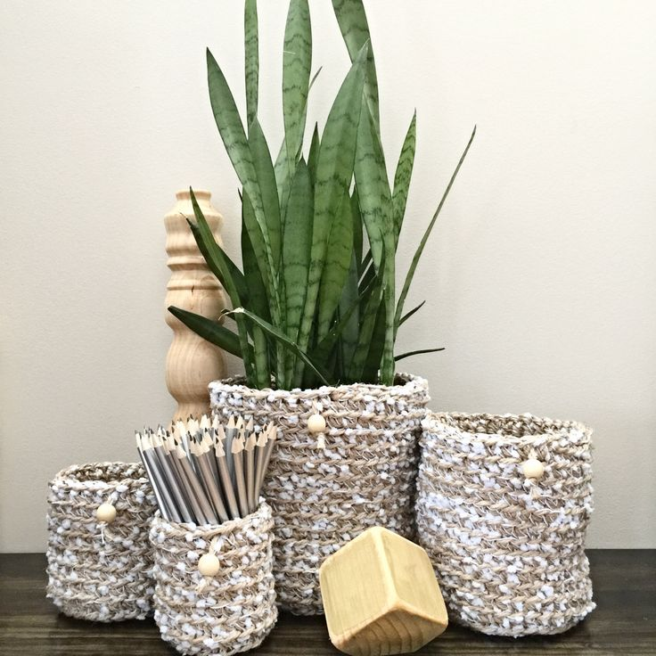 Jute and Light Blue Yarn Pot Plant Holders by DollmaDesign on Etsy