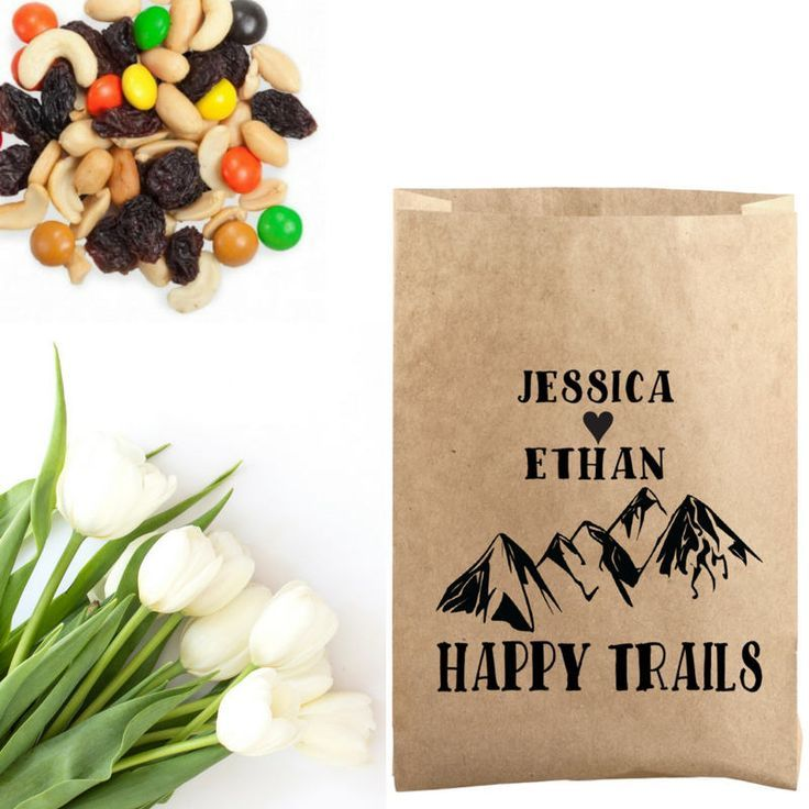 easy diy rustic wedding favors%0A Mountain Wedding Favor Stamp  Happy Trails Stamp  Trail Mix Favor Bag  Stamp  Mountain Trail Mix Paper Bag  Rustic Wedding Favor Idea by
