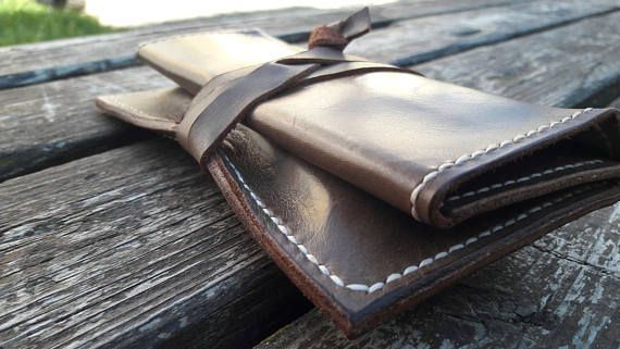 Leather Tobacco Pouch Rolling Tobacco Case  Handmade hand