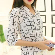 Estilo de verano 2015 nueva llegada de moda impreso de tres cuartos de la manga mujeres blusa de la gasa ocasional Camisa Feminina WCX405(China (Mainland))