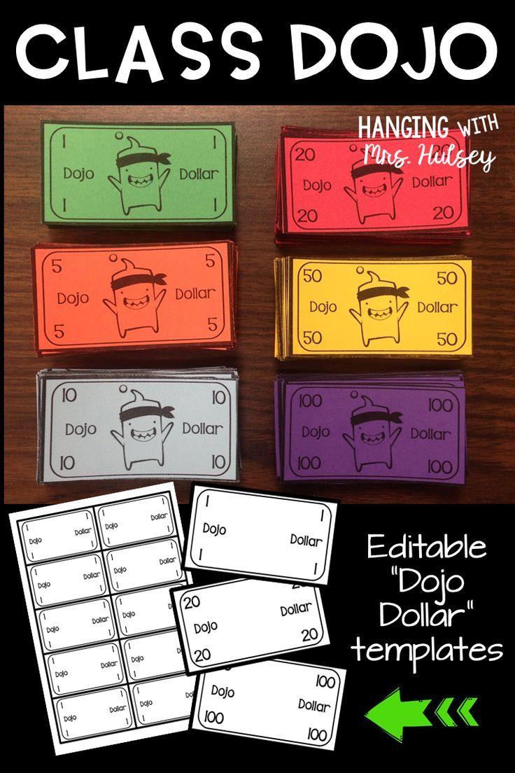 "Class Dojo rewards can be free and promote good behavior in any classroom! These editable ""dojo dollar"" templates work well with a classroom economy system-- and it's easy to implement and keep track o points!"
