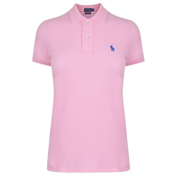 POLO RALPH LAUREN Skinny Fit Polo Shirt ($72) ❤ liked on Polyvore featuring tops, pink top, polo ralph lauren, polo shirts, short sleeve tops and short sleeve polo shirts
