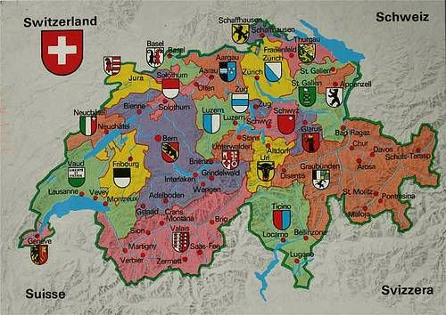 Cantons and Regions Switzerland Map. French Cantons include: Berne and Bernese Oberland, Freiburg Region, Neuchatel and Jura Region, Lake Geneva Region, and Valais Region