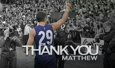 A TRUE FREMANTLE LEGEND - WIN / LOSE / DRAW - THANK YOU FOR YOUR LOYALTY OVER 300 GAMES. FROM ALL WHO BLEED PURPLE. GO DOCKERS !!!