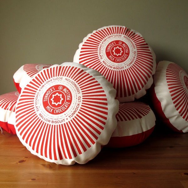 Tunnock's Teacake Screen-Printed Cushion. £28.00, via Etsy.