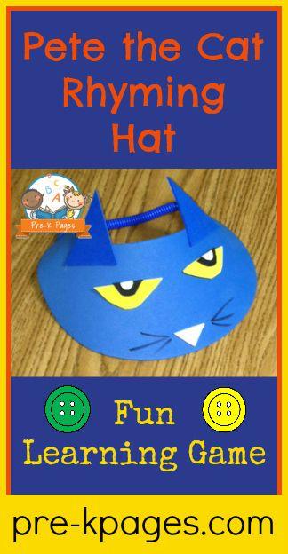 Pete the Cat Rhyming Hat Activity for #preschool #kindergarten