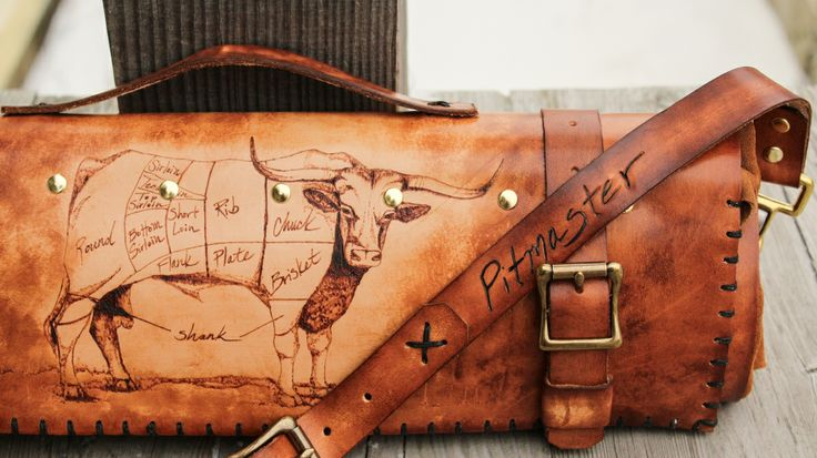Long horn cow and pig leather knife roll (The Butcher's