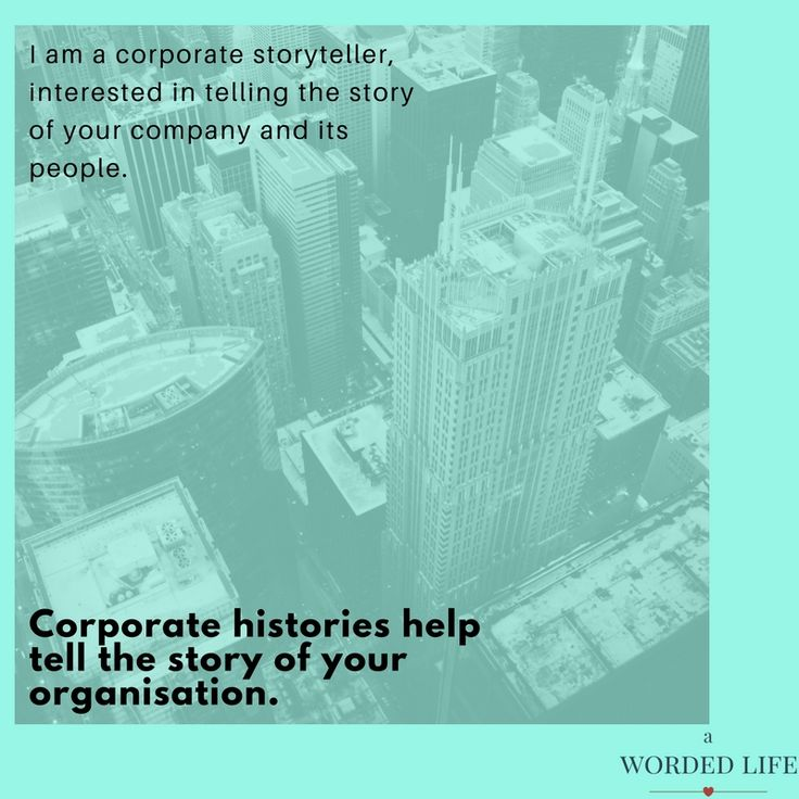 I am a corporate storyteller, interested in telling the story of your company and its people. http://awordedlife.com/services