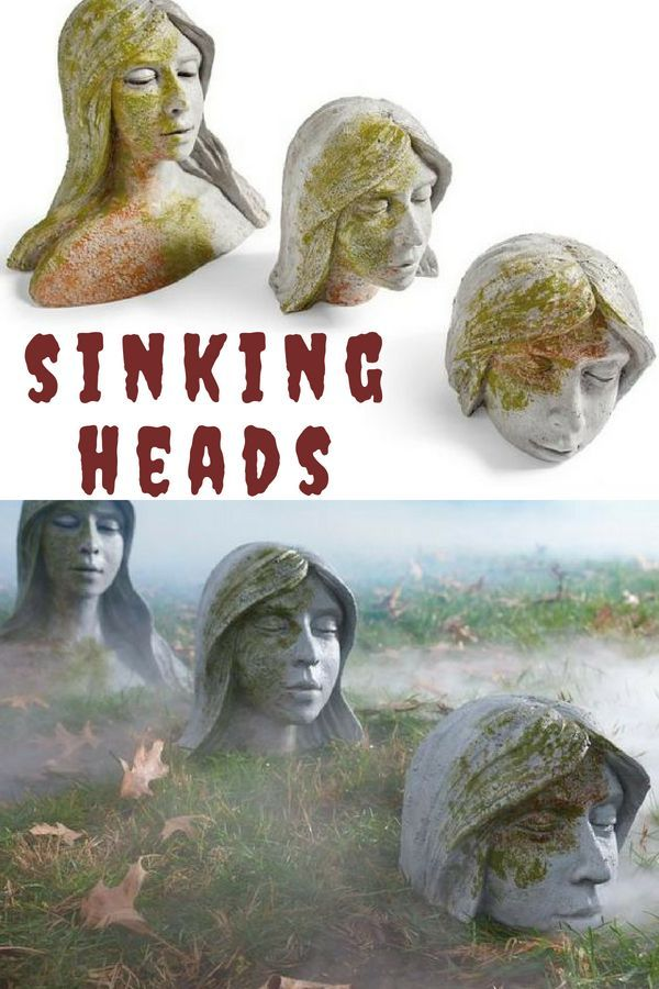 Add these creepy sinking heads to your scary outdoor Halloween scene