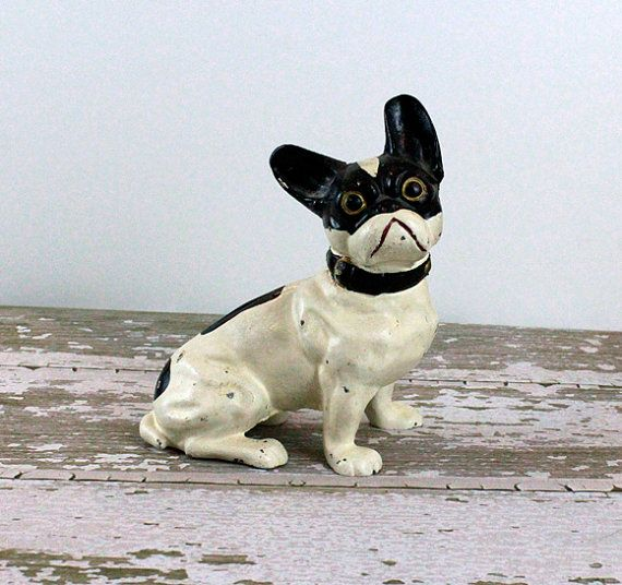 Antique Cast Iron French Bull Dog Door Stop Antiques