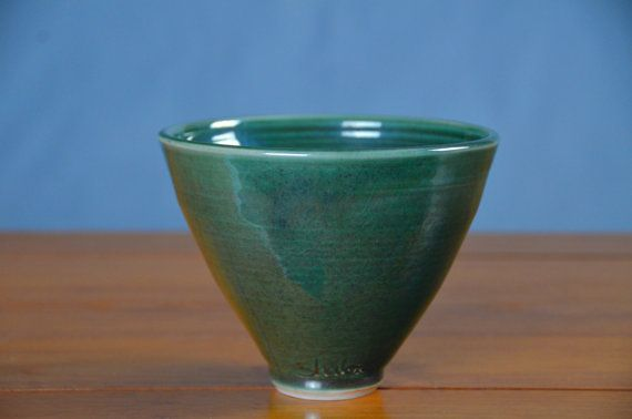 Japanese Style Green Porcelain Serving Bowl, Hand Thrown B-mix Porcelain, Teal Serving Bowl, Centerpiece, Ceramic Bowl | Caldwell Pottery