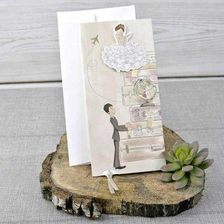 Invitación de boda original novios de viaje