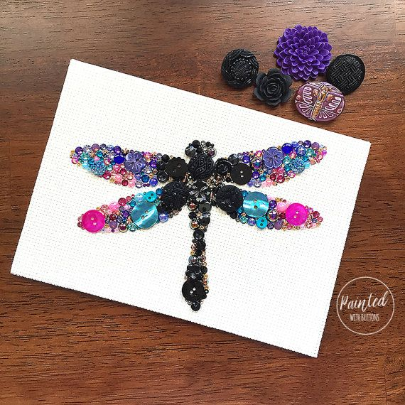 SALE Button Art Dragonfly Vintage Button by PaintedWithButtons