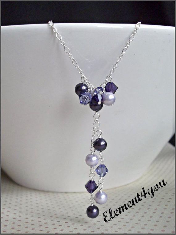 Purple necklace Swarovski crystals pearls Pearl
