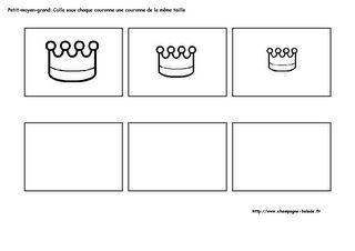 Mathématiques, petit moyen, grand en petite section maternelle, thème couronne et galette des rois