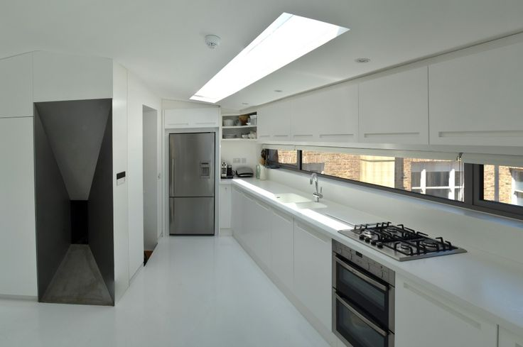 modern kitchen design in loft extension london by belsize architects long thin windows on kitchen interior with window id=61475