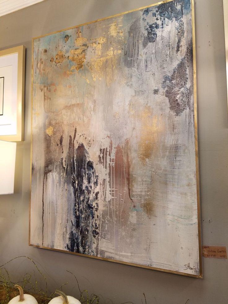 Stunning painting in rich gold and neutrals. www.hausporta.com #hausporta #abstractart #painting #luxuryinterior