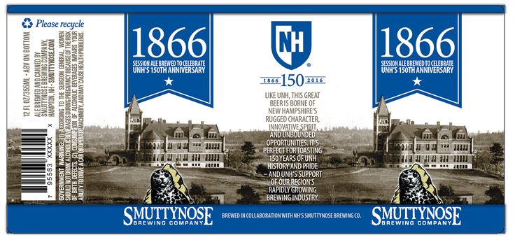 Smuttynose Brewing Company and the University of New Hampshire have partnered to brew a session ale to celebrate UNH's 150th anniversary. Called 1866 (the year UNH was founded), the session ale will be for sale and on tap at numerous locations throughout the Seacoast beginning March 13. #UNH150