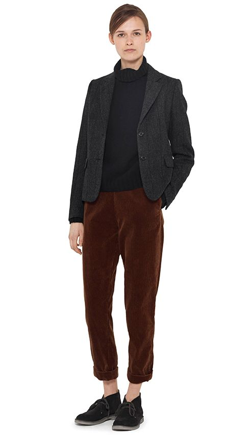 berry cords, ysl blazer, L jumper, flat boots / desert boots
