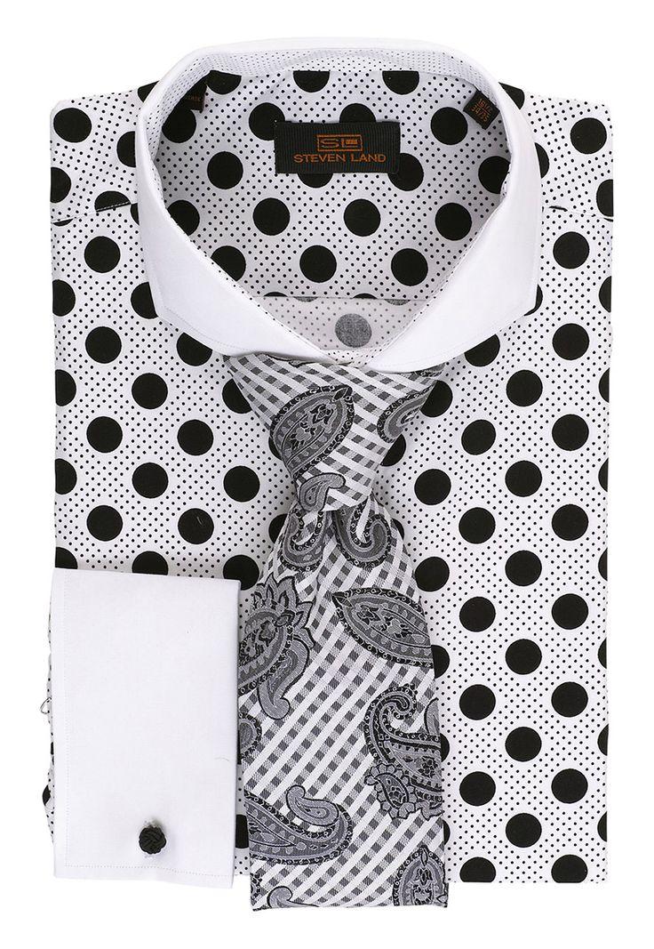 Steven Land Shirt DS1245   Wht/Blk $69 #StevenLand #BlackAndWhite 100% cotton dress shirts classic fit
