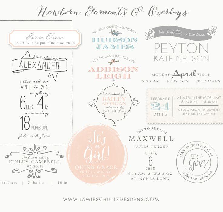 Newborn Elements and Overlay Templates by Jamie Schultz Designs